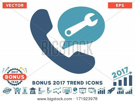Cyan And Blue Phone Service Message pictograph with bonus 2017 year trend elements. Vector illustration style is flat iconic bicolor symbols white background.