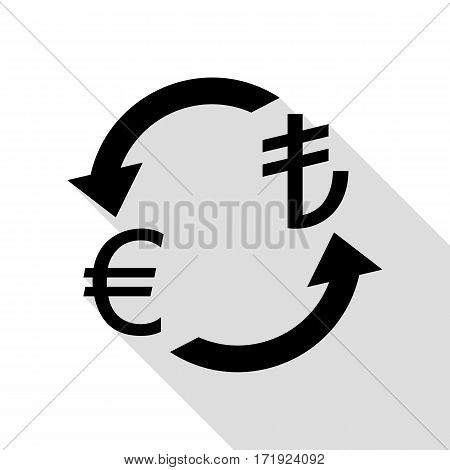 Currency exchange sign. Euro and Turkey Lira. Black icon with flat style shadow path.