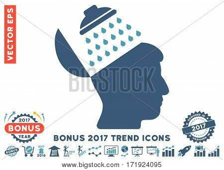 Cyan And Blue Propaganda Brain Shower icon with bonus 2017 trend pictograms. Vector illustration style is flat iconic bicolor symbols white background.