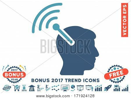 Cyan And Blue Radio Neural Interface pictograph with bonus 2017 trend pictures. Vector illustration style is flat iconic bicolor symbols white background.