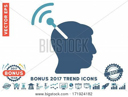Cyan And Blue Radio Neural Interface pictograph with bonus 2017 trend icon set. Vector illustration style is flat iconic bicolor symbols white background.
