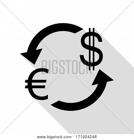 Currency exchange sign. Euro and US Dollar. Black icon with flat style shadow path.