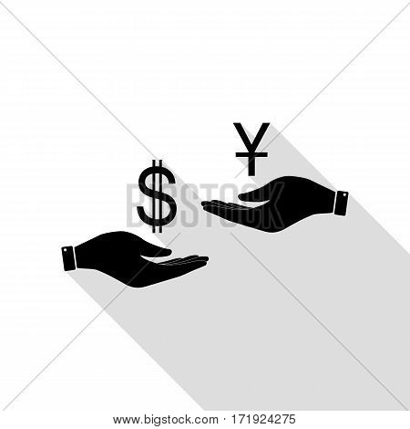 Currency exchange from hand to hand. Dollar and Yuan. Black icon with flat style shadow path.