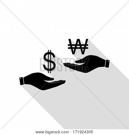 Currency exchange from hand to hand. Dollar and South Korea Won. Black icon with flat style shadow path.