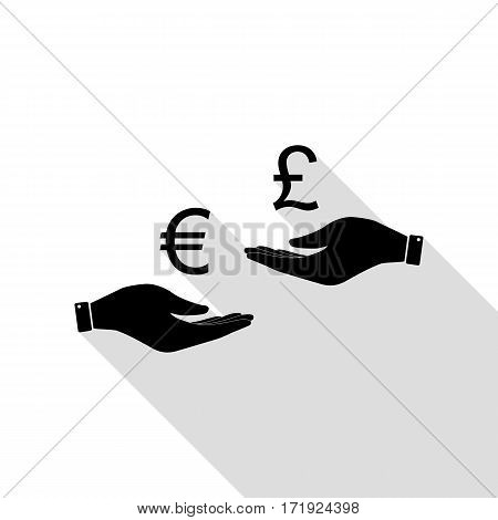 Currency exchange from hand to hand. Euro and Puond. Black icon with flat style shadow path.