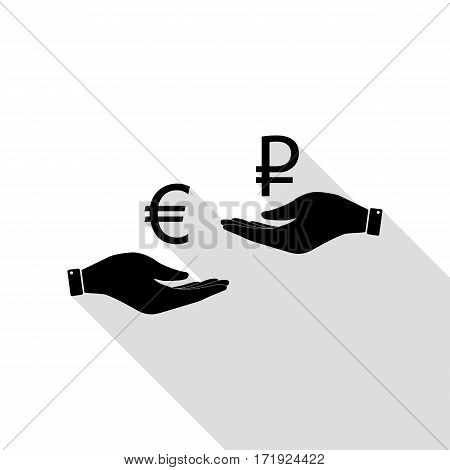 Currency exchange from hand to hand. Euro and Rouble. Black icon with flat style shadow path.