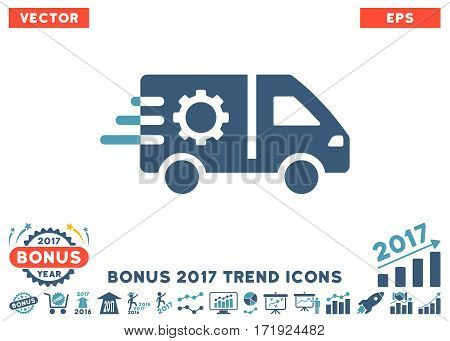 Cyan And Blue Service Car pictograph with bonus 2017 year trend clip art. Vector illustration style is flat iconic bicolor symbols white background.