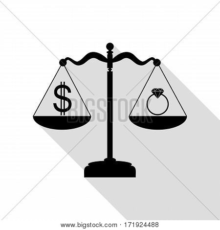 Ring jewelery and dollar symbol on scales. Black icon with flat style shadow path.