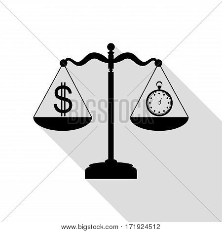 Stopwatch and dollar symbol on scales. Black icon with flat style shadow path.