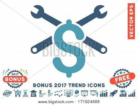 Cyan And Blue Service Price pictogram with bonus 2017 year trend pictograms. Vector illustration style is flat iconic bicolor symbols white background.
