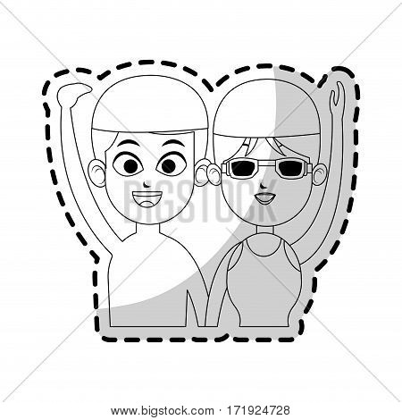 happy couple ready to practice swimming sport over white background. vector illustration