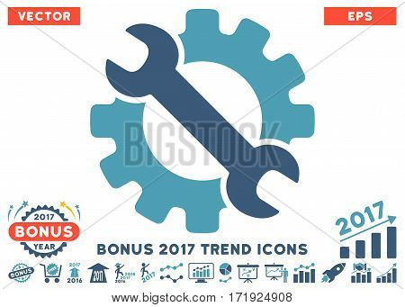 Cyan And Blue Service Tools pictograph with bonus 2017 year trend pictograph collection. Vector illustration style is flat iconic bicolor symbols white background.
