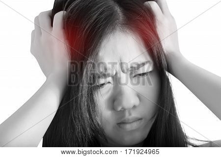 Headache Symptom In A Woman Isolated On White Background. Clipping Path On White Background.