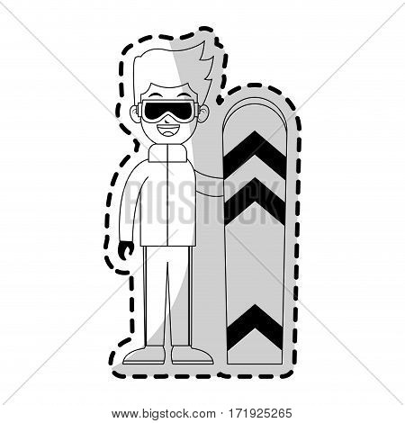 boy with winter sport equipment over white background. vector illustration