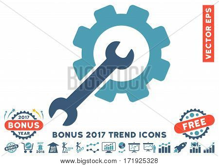 Cyan And Blue Setup Tools pictograph with bonus 2017 trend pictograph collection. Vector illustration style is flat iconic bicolor symbols white background.