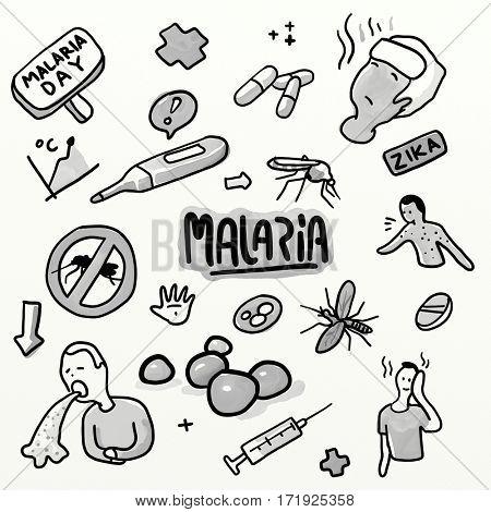 Malaria set. Doodling sketch watercolor illustration