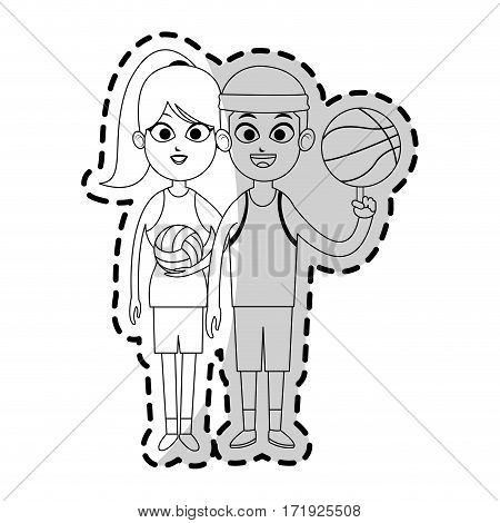 happy couple ready to practice winter sport over white background. vector illustration