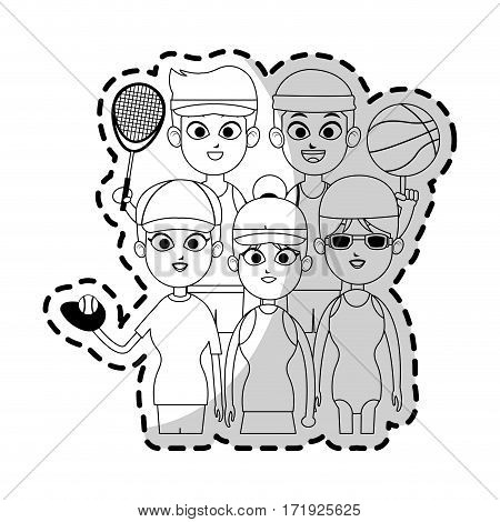 people ready to practice sport games over white background. vector illustration