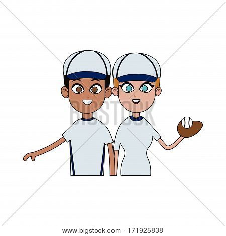 boy and girl with baseball sport equipment over white background. colorful design. vector illustration