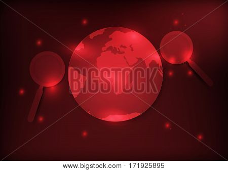 Abstract search engine concept earth and magnifier with red background