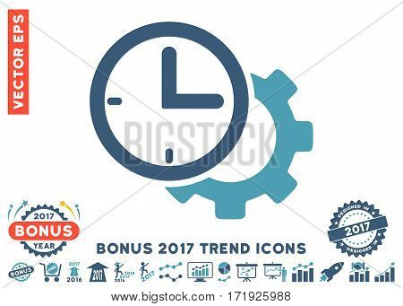 Cyan And Blue Time Setup Gear pictogram with bonus 2017 trend clip art. Vector illustration style is flat iconic bicolor symbols white background.