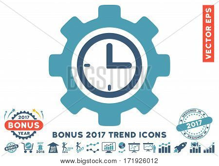 Cyan And Blue Time Setup Gear icon with bonus 2017 year trend clip art. Vector illustration style is flat iconic bicolor symbols white background.