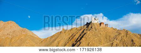 Leh Tsemo Fort Gompa Panoramic Mountain Moon