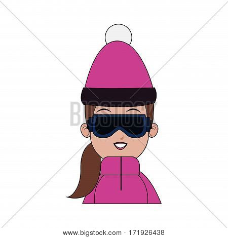 girl with winter sport equipment over white background. colorful design. vector illustration