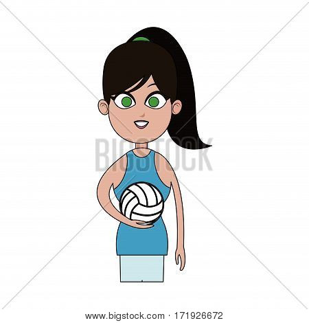 girl with volleyball sport equipment over white background. colorful design. vector illustration