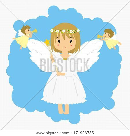 Illustration of an angel holding a wand with flying little angels blowing trumpet