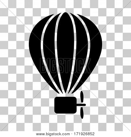 Aerostat Balloon vector pictograph. Illustration style is a flat iconic black symbol on a transparent background.