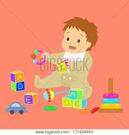 Vector illustration of a baby boy playing with his toys, baby rattle, alphabet blocks, toy car, and stacking rings.