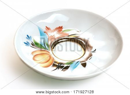 tea saucer isolated on white background
