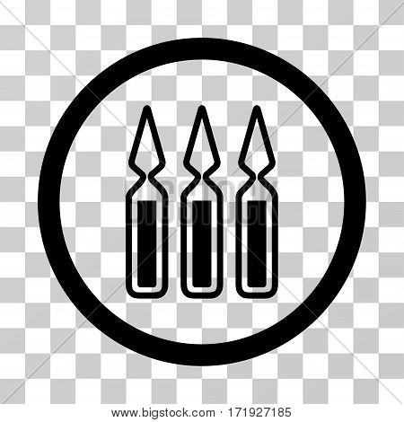 Ampoules vector pictogram. Illustration style is a flat iconic black symbol on a transparent background.