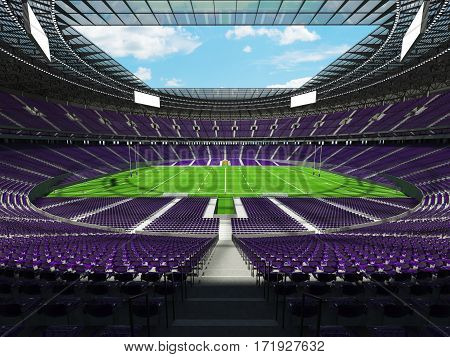 3D Render Of A Round Rugby Stadium With Purple Seats And Vip Boxes
