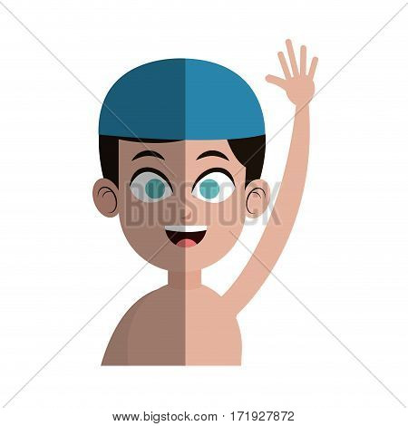 boy with swimming sport equipment over white background. colorful design. vector illustration