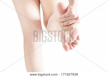 Acute Pain In A Woman Feet Isolated On White Background. Clipping Path On White Background.