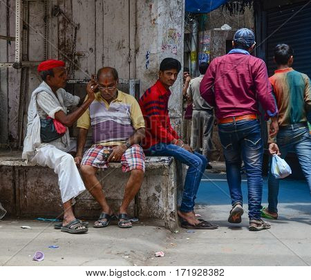 People On Street In Delhi, India