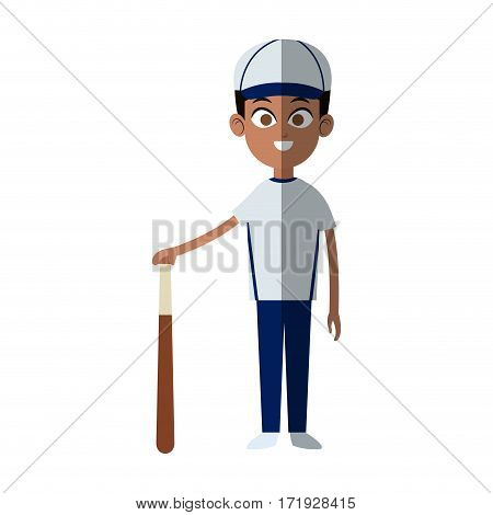 boy with baseball sport equipment over white background. colorful design. vector illustration