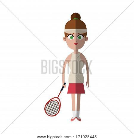 girl with tennis equipment over white background. colorful design. vector illustration
