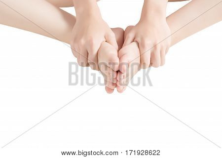 Acute Pain In A Woman  Ankle Isolated On White Background. Clipping Path On White Background.