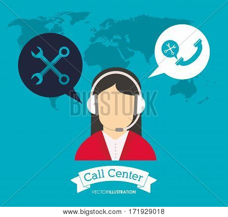 operator earphones call center world support vector illustration eps 10