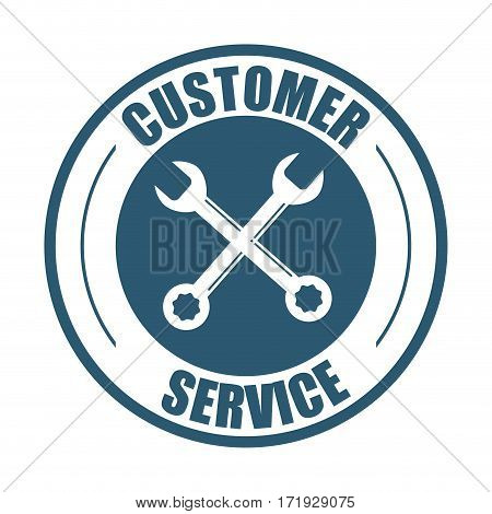 customer service support tools badge vector illustration eps 10