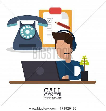 call center person laptop telephone review vector illustration eps 10