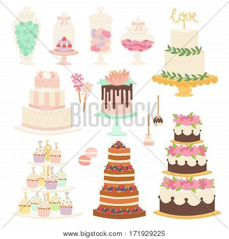 Collection of various wedding cakes on white background. Fresh tasty dessert sweet pastry pie. Gourmet homemade delicious cream traditional bakery tart.