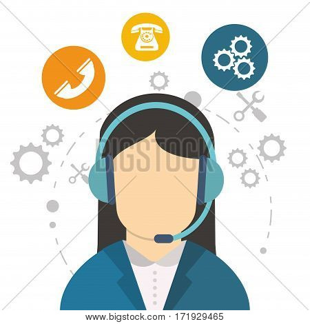 character call center communication work tool vector illustration eps 10