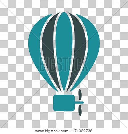 Aerostat Balloon vector pictograph. Illustration style is a flat iconic bicolor soft blue symbol on a transparent background.