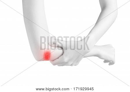 Acute Pain In A Woman Elbow Isolated On White Background. Clipping Path On White Background.