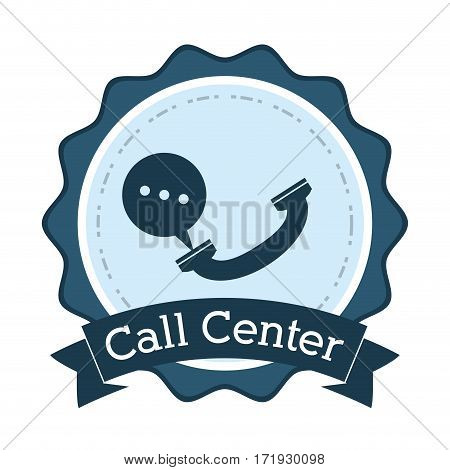 call center telephone helpline communication badge vector illustration eps 10