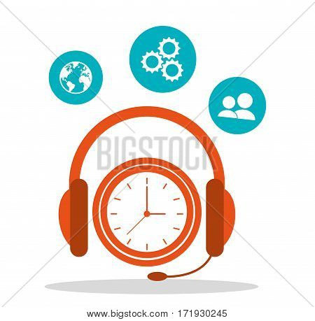 headsetline time call center vector illustration eps 10